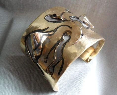 Custom Made Brass And Steel Abstract Peek-A-Boo Cuff