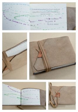 Custom Made Personalized Leather Journal Buckskin Art Sketchbook Lined Leather Landscape Diary 686b
