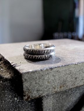 Custom Made Mans Ring Circle Stamped Pattern Recycled Sterling Ring - Inspired By Octopus Tentacles