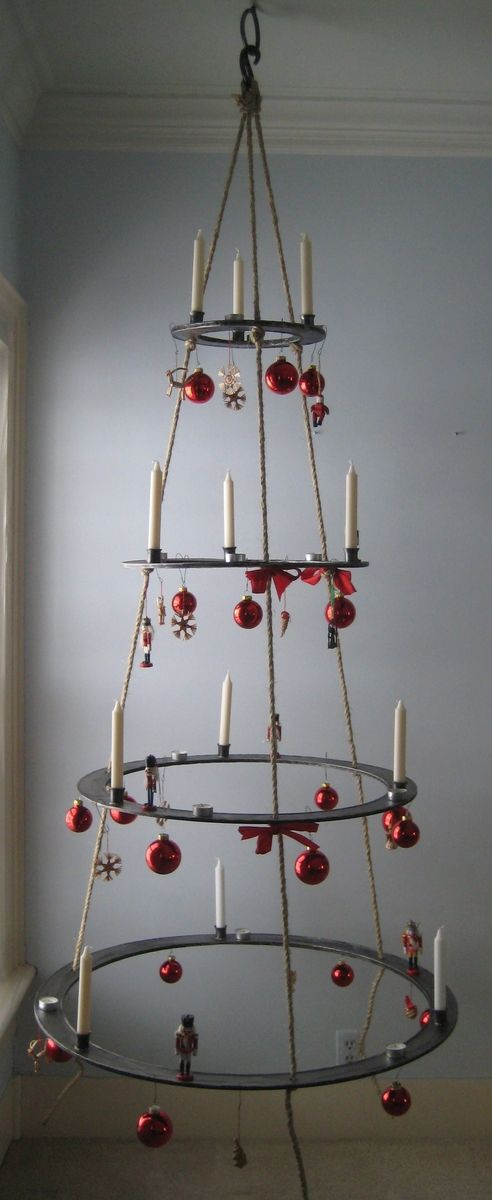custom hanging metal christmas tree by schulte studios inc. Black Bedroom Furniture Sets. Home Design Ideas