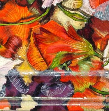Custom Made Trompe L'Oeil Painting Of Edible Salad Flowers With Pansies Nasturtium
