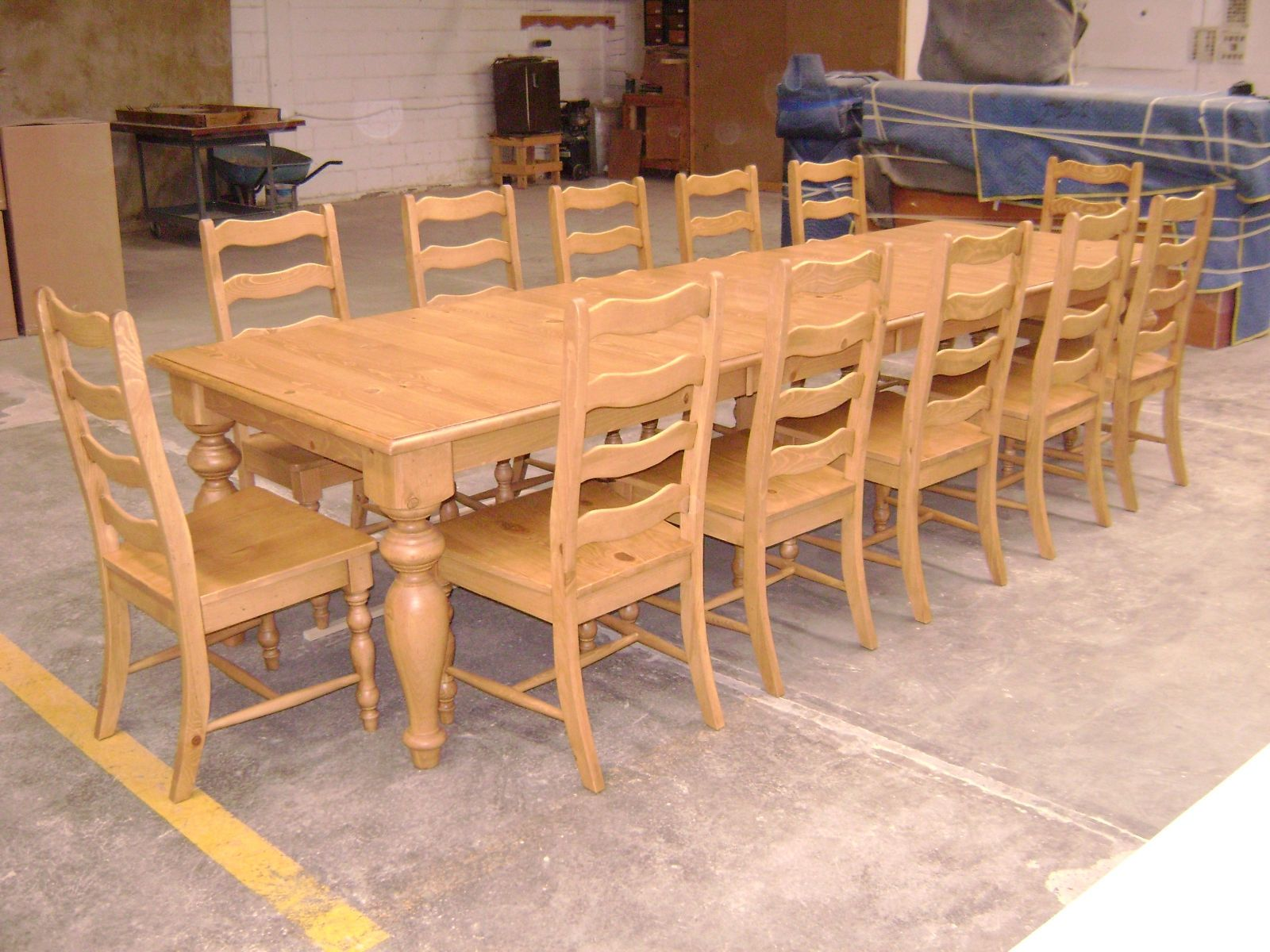 Hand made pine dining table and ladder back chairs by for Dining chairs and tables