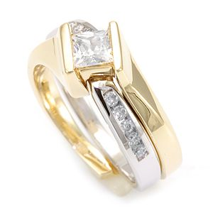 Custom Made Diamond Ring And Matching Band In 14k White Yellow Gold Wedding Set