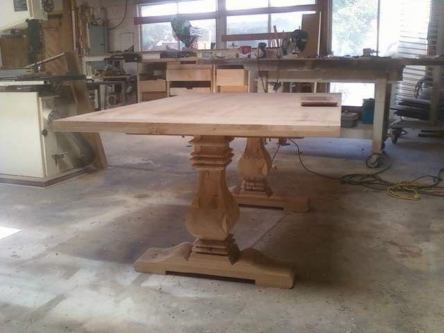 Handmade Pecan Trestle Table By Santini Custom Furniture