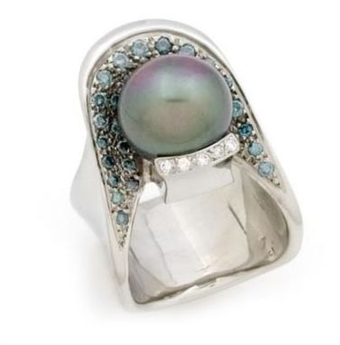 Custom Made Pearl Ring With Blue Diamonds