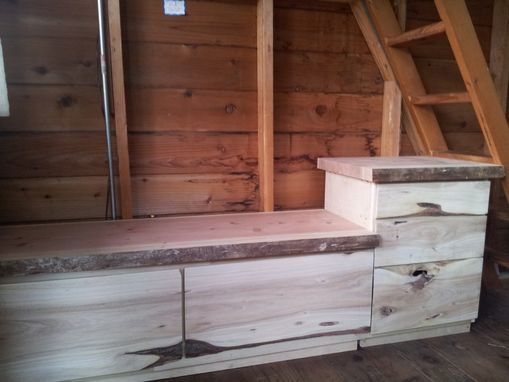 Custom Made Built In Rustic Cabinets, Bench And Table