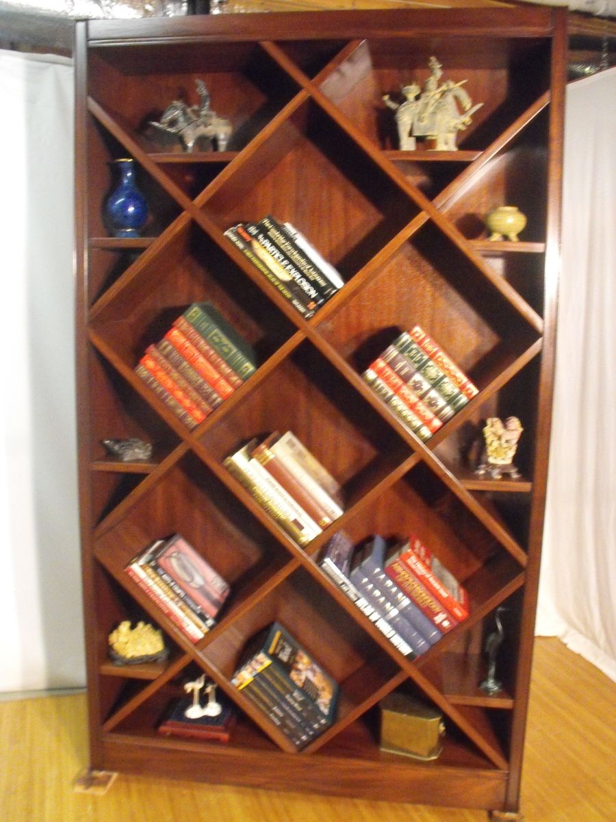 Handmade Bookcase Curio With Diagonal Shelves By Wonder