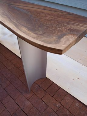 Custom Made Live Edge Walnut Console Table With Curved Steel Base