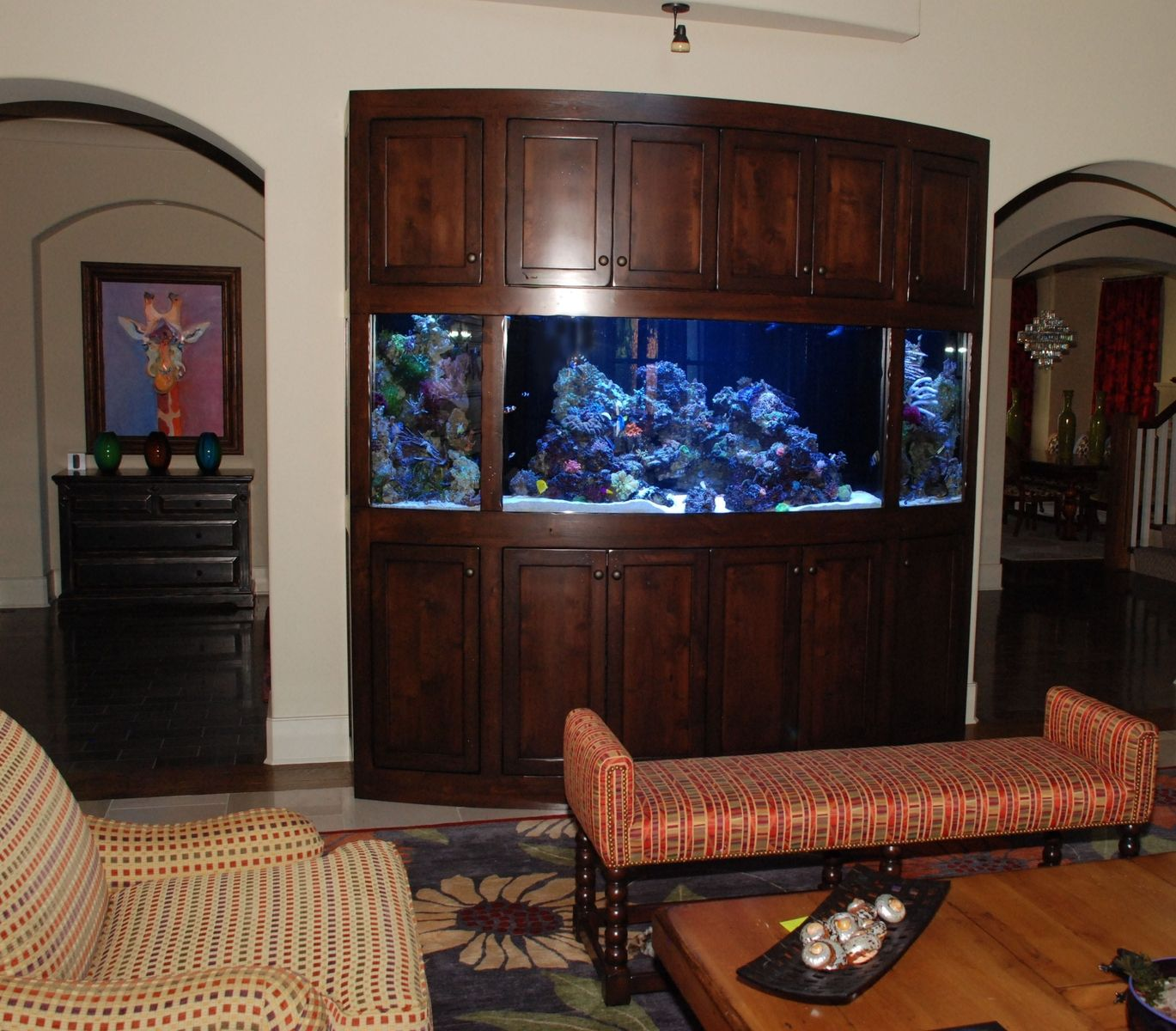 Custom Made Rustic Radius Aquarium Stand Cabinet Unit