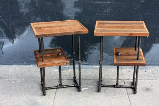 Custom Made 'Galvy' Industrial Side Tables // Reclaimed Wood Nightstands