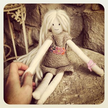 Custom Made Rag Doll /Organic Cotton Muslin /Plant Dyed /Up-Cycled /Vintage Clothing