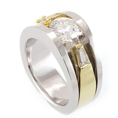 Custom Made Baguette Diamond Engagement Ring In 14k White And Yellow Gold, Proposal Ring, Ladies Ring