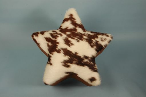 Custom Made Brown Cowhide Ranch Star Shape Nail Head Ottoman