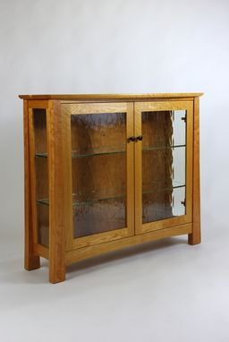 Custom Made Cherry And Glass Display Cabinet And Mirror