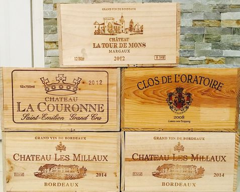 Custom Made 5 French Original Twelve Count Bottles Wine Crates