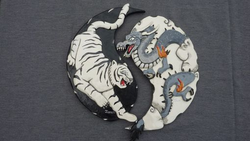 Custom Made White Tiger And Black Dragon, Yin And Yang