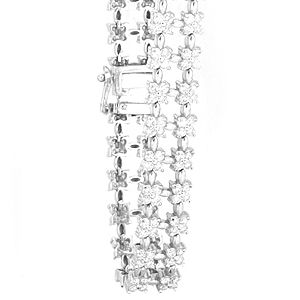 Custom Made Flower Diamond Tennis Bracelet