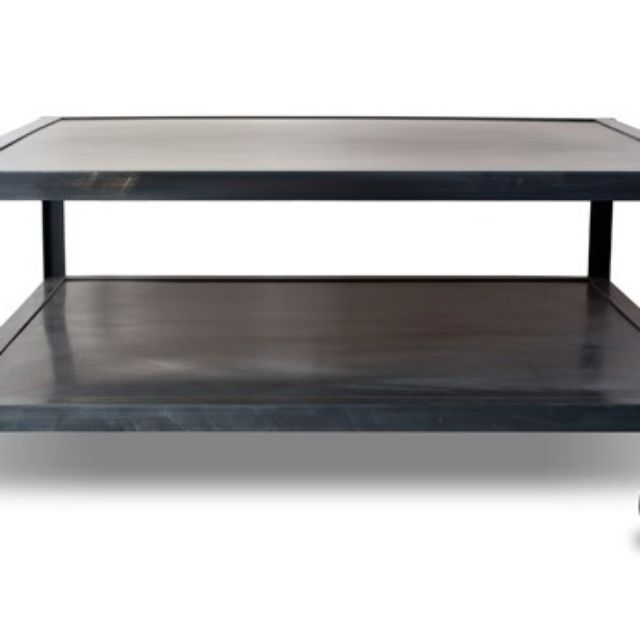 Industrial Modern Square Metal Coffee Table With Casters Rolling Coffee Table