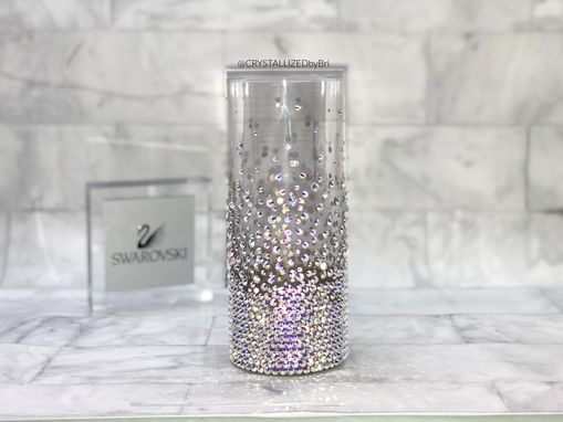 Custom Made Crystallized Collins Glass 12oz Bar Drink Bling Swarovski Crystals Bedazzled