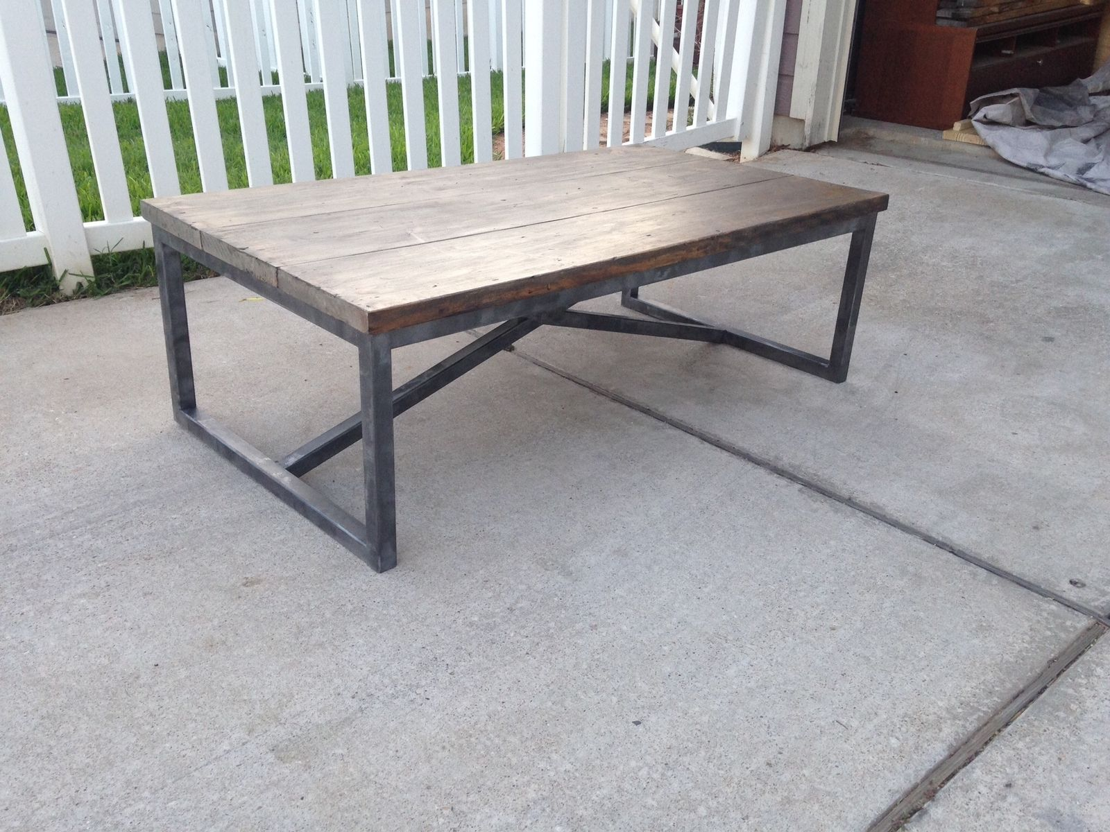 Handmade Rustic X Brace Coffee Table With Recycled Metal Frame by