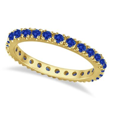 Custom Made 0.50ct Blue Sapphire Eternity Band Wedding Ring 14k Gold