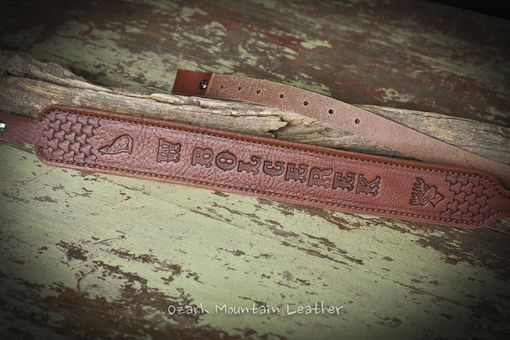 Custom Made Customized Leather Rifle Sling Brown With Hand Tooled Design Slim Style Lightly Padded