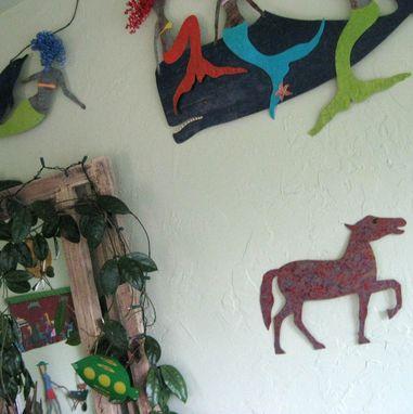 Custom Made Handmade Upcycled Metal Horse Wall Art Sculpture