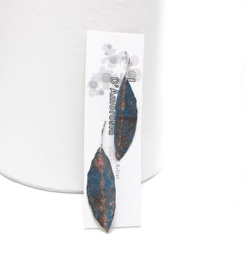 Custom Made Leaf Earrings - Oxidized Copper Leaf Earrings - Eucalyptus Leaf Earrings - Dark Copper Earrings