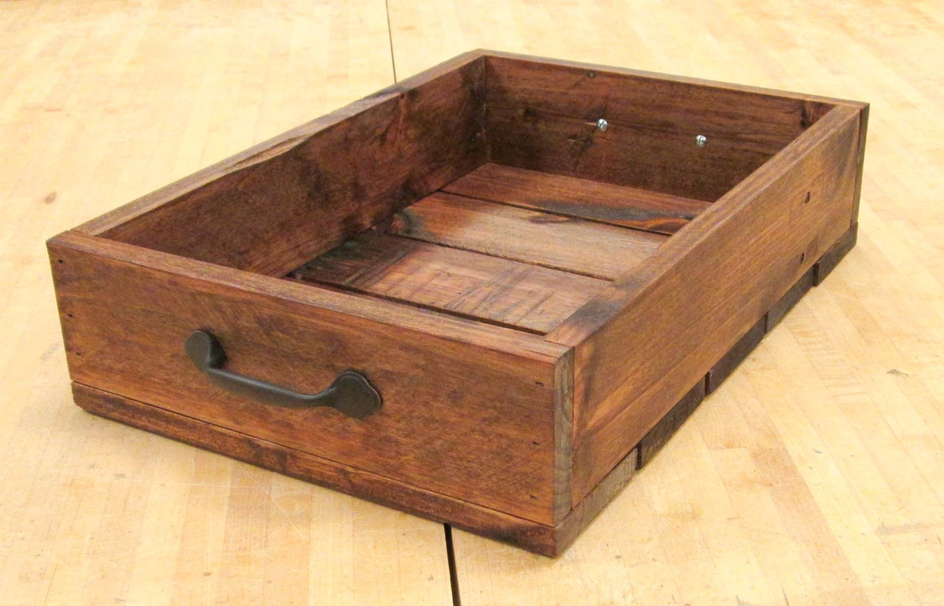 Hand Made Rustic Wooden Crate With Handles Made From Reclaimed