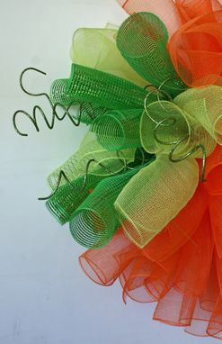 Custom Made Mesh Pumpkin Wreath