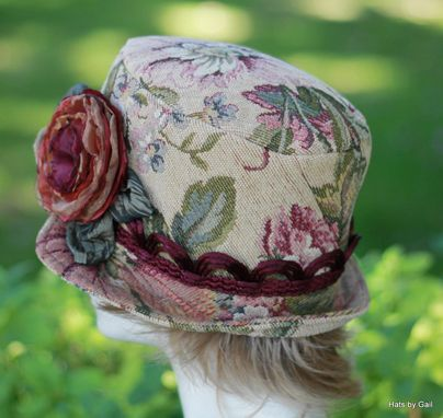 Custom Made Edwardian Bohemian Bucket Style Hat In Floral Print Tapestry