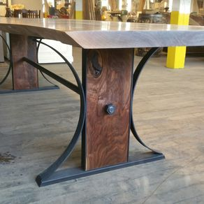 Rare Bastogne Walnut Dining Table With Steel And Base