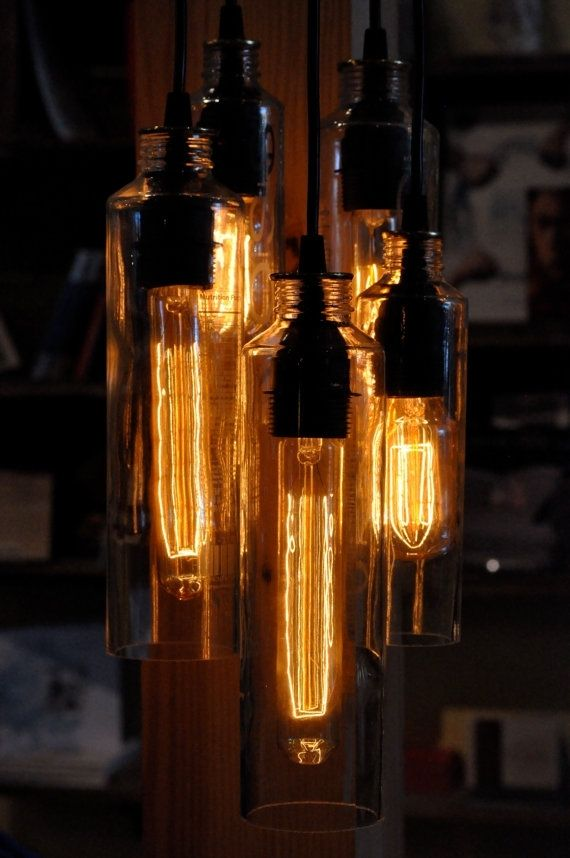 Hand Made Recycled Bottle Voss Bottle Pendant Lamp