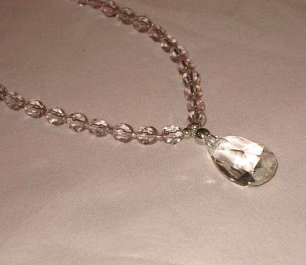 Custom Made Pink Crystal Teardrop Necklace