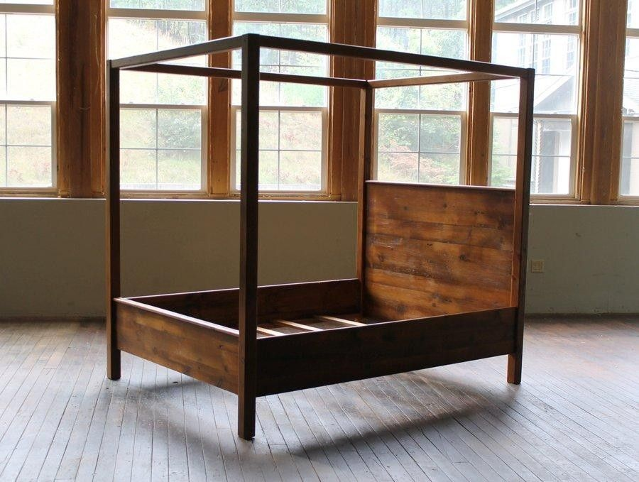 Custom Canopy Bed custom canopy bed from rustic reclaimed pine finished in brown