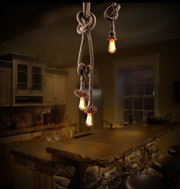 Custom Made Vintage Retro Handmade Decorative Rope Ceiling Light.
