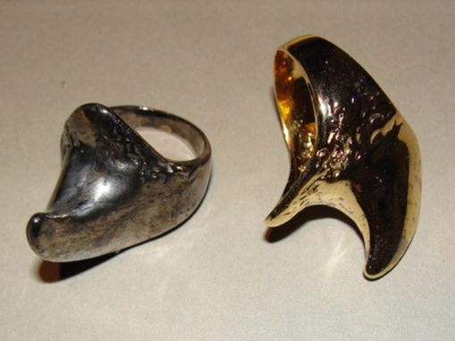 Custom Made 14 Kt Gold Plated Sterling Silver Rhino Horn Ring Rhinoceros