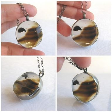 Custom Made Montana Agate Pendant Necklace, Scenic Landscape