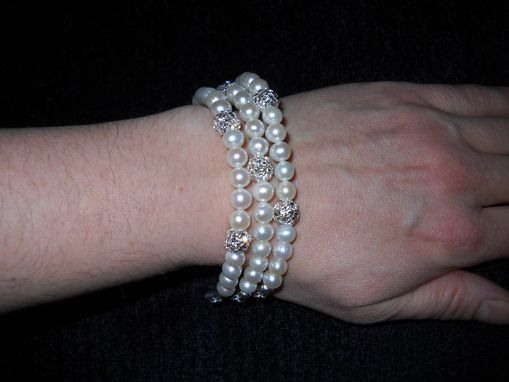 Custom Made Triple Strand Pearl And Swarovski Crystal Bracelet