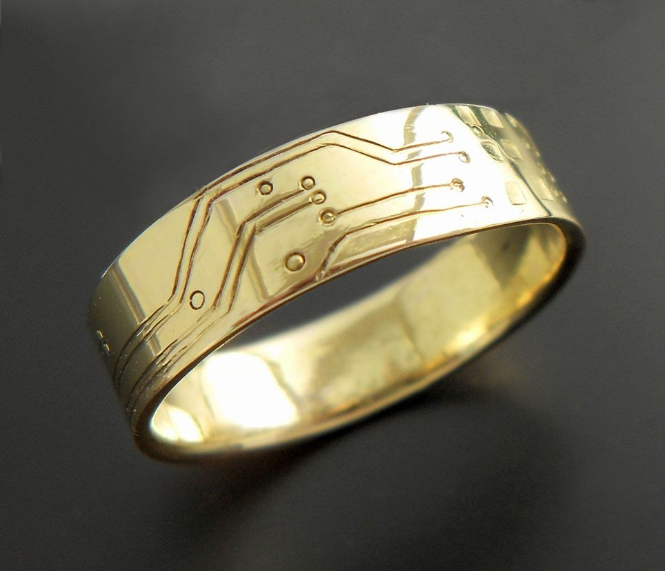 Buy A Handmade Gold Circuit Board Ring In 18k Made To Order Boards From Blue Kraken