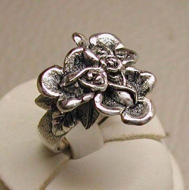 Custom Made Sterling Silver Cluster Of Roses Ring