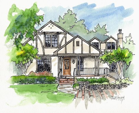 Custom Made 11x14 Pen And Ink With Watercolor Custom Home Portrait