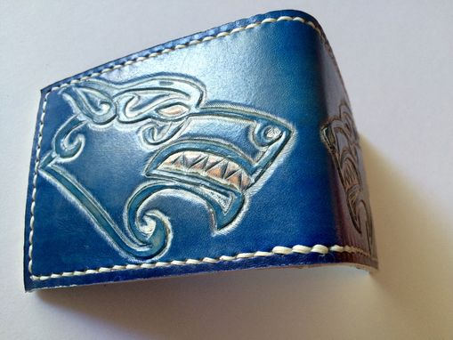 Custom Made Viking Celtic Tooled Leather Wolf Card Wallet