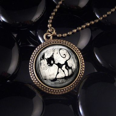 Custom Made Black Cat & Moon Antique Bronze Pendant Necklace 81-Brn