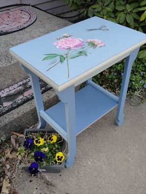 Custom Made Floral Painted Wooden Table