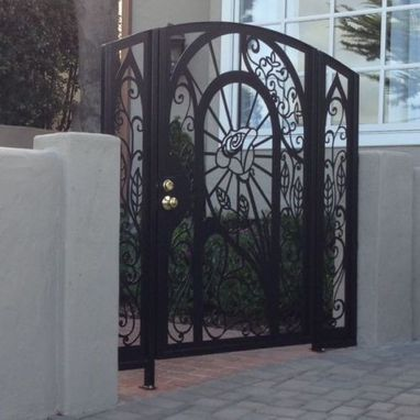 Custom Made Contemporary Metal Gate Panels Steel Iron Walk Pedestrian Garden Entry