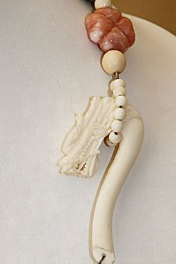 Custom Made This Carved Genuine Ivory Dragon Is The Clasp For Necklace Of Agate, Opals And Scrimshaw Ivory Beads
