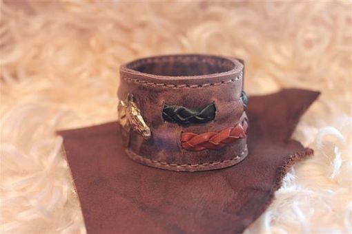 Custom Made Leather Wristband With Braided Leather