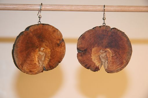Custom Made Wooden Earring Pine Burl Natural