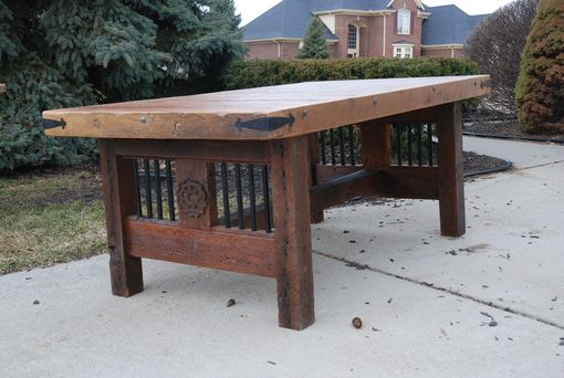 Custom Made Rustic Reclaimed Wood Table With Steel Accents